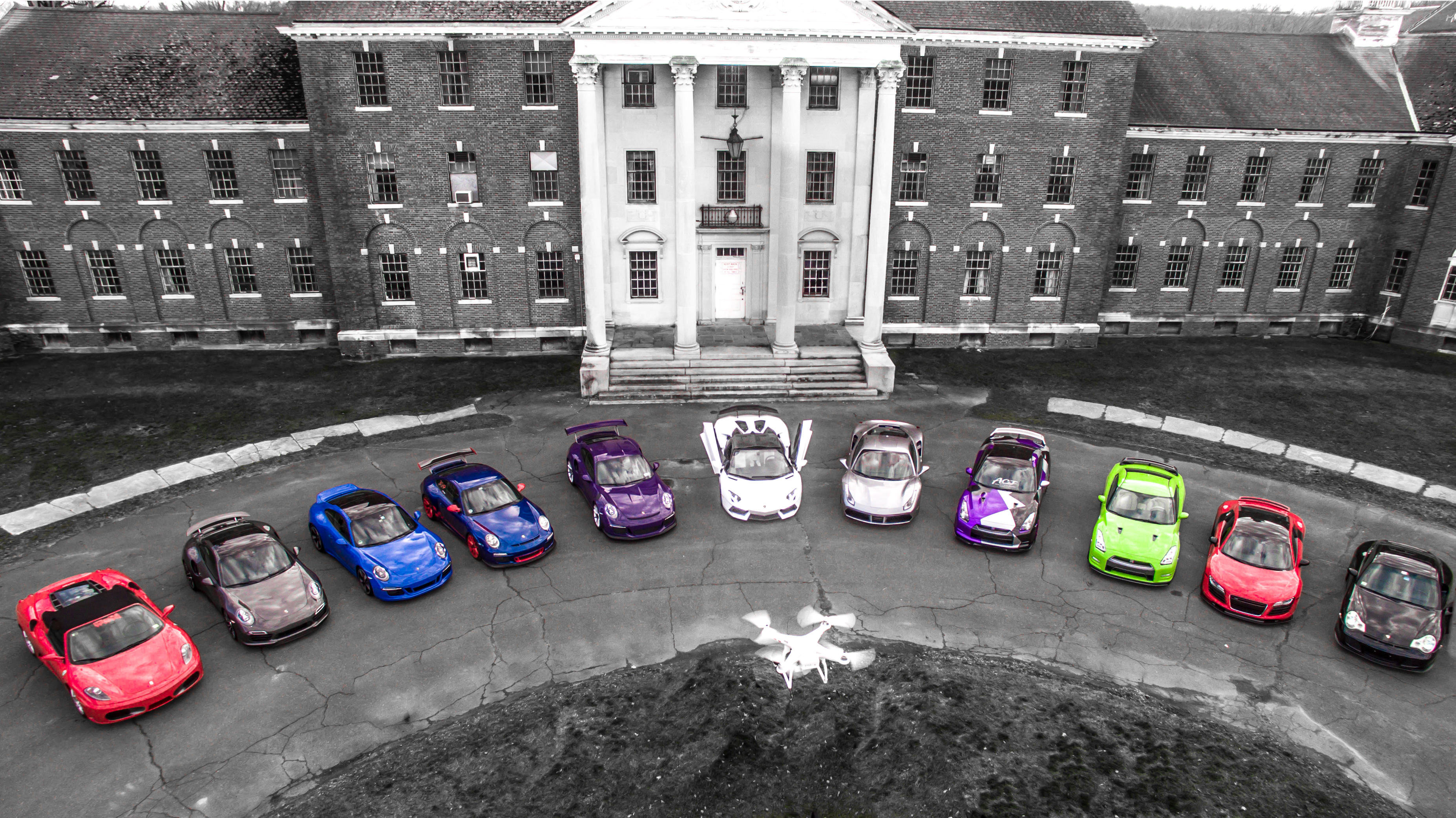 Drone Photography of Cars at Insane Asylum