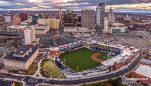 Aerial drone view of Dunkin Donuts Park - home of the Hartford Yard Goats