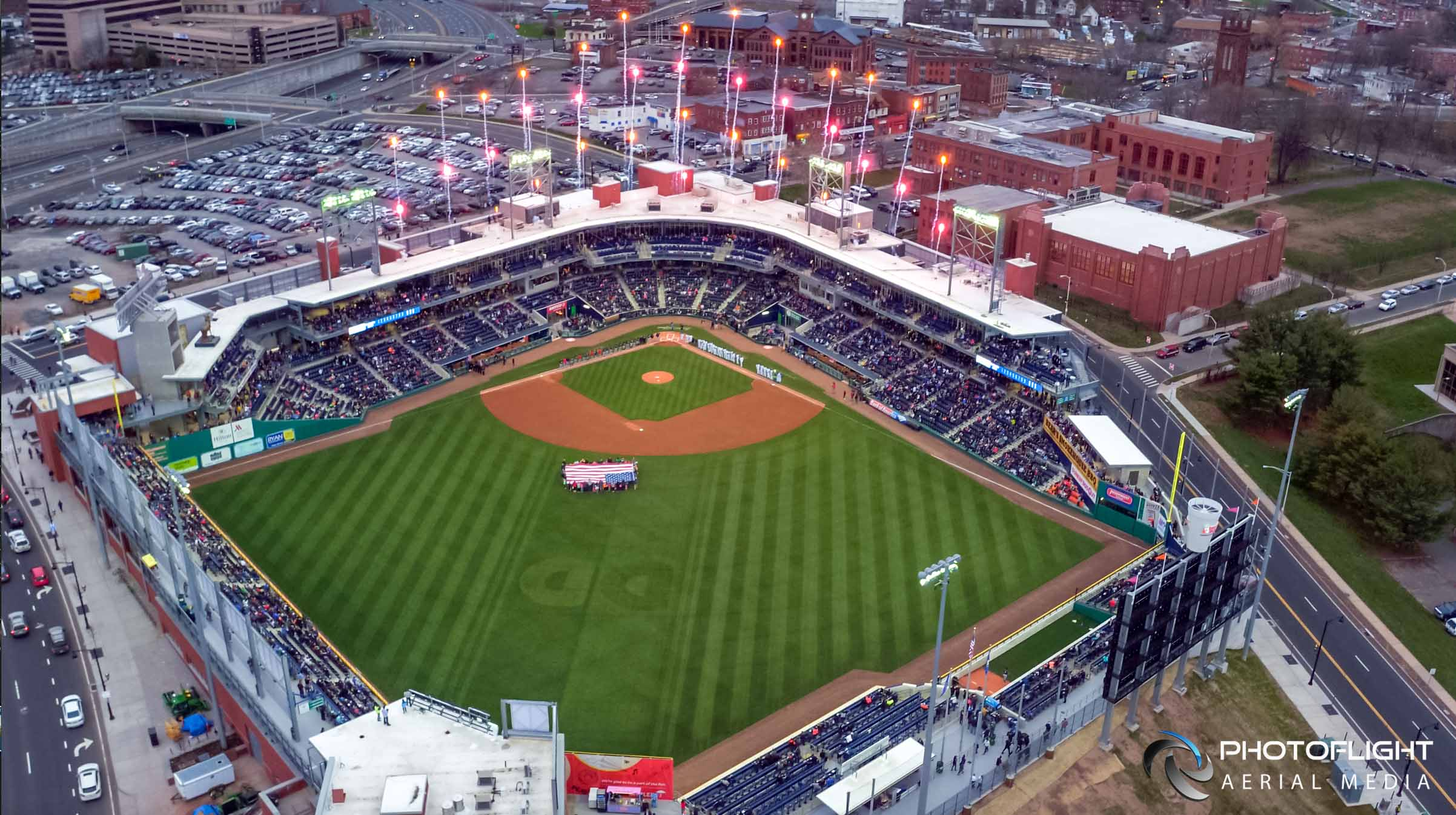 Live News Drone Coverage of Hartford Yard Goats Opening Game