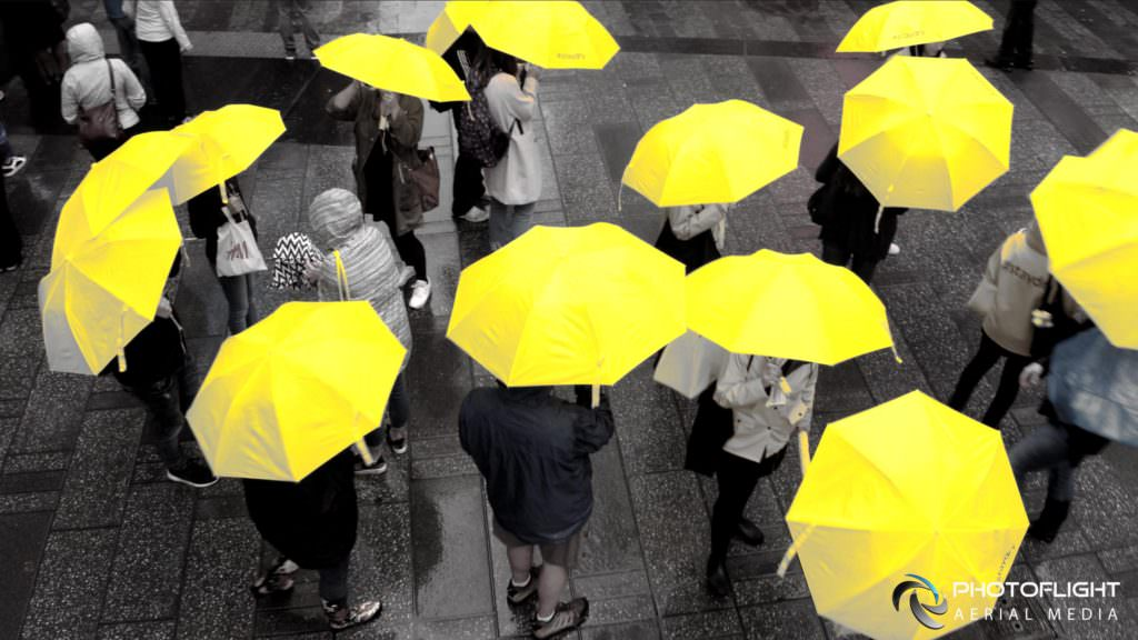 Yellow Umbrellas - NYC Drone Photography and Video