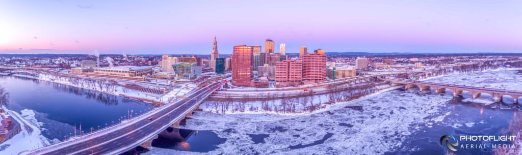 Hartford CT Downtown and River Winter Drone Panorama by Photoflight Aerial Media - Media Asset Ref PAN2017-019