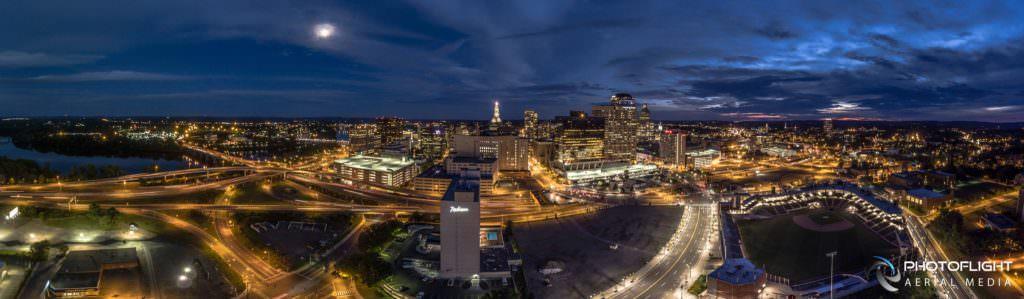 Hartford CT Night Drone Panorama by Photoflight Aerial Media - Media Asset Ref PAN2017-021