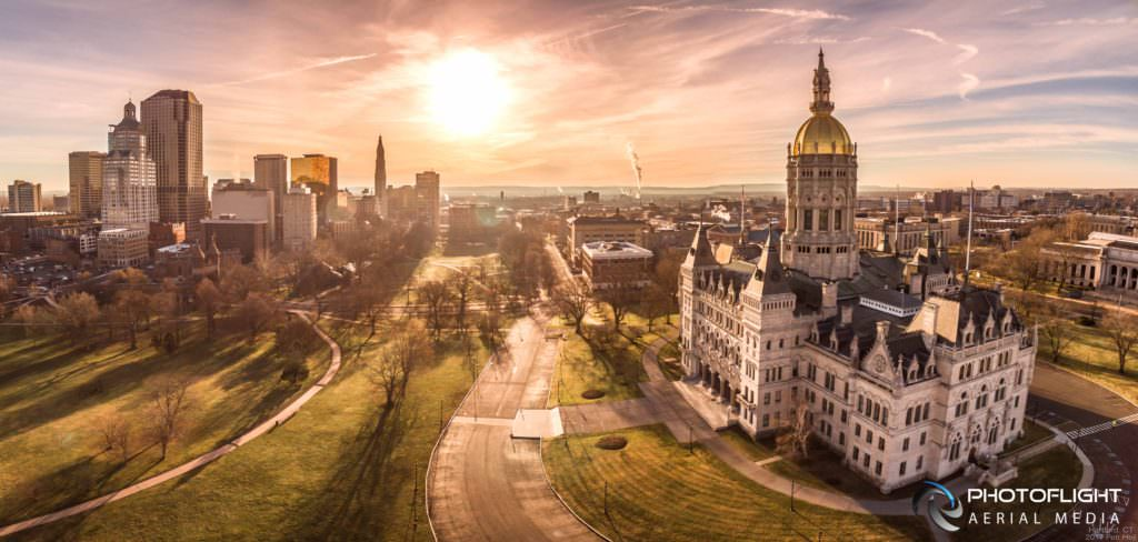 Hartford CT Capitol and Downtown Sunrise Drone Panorama by Photoflight Aerial Media - Media Asset Ref PAN2016-021