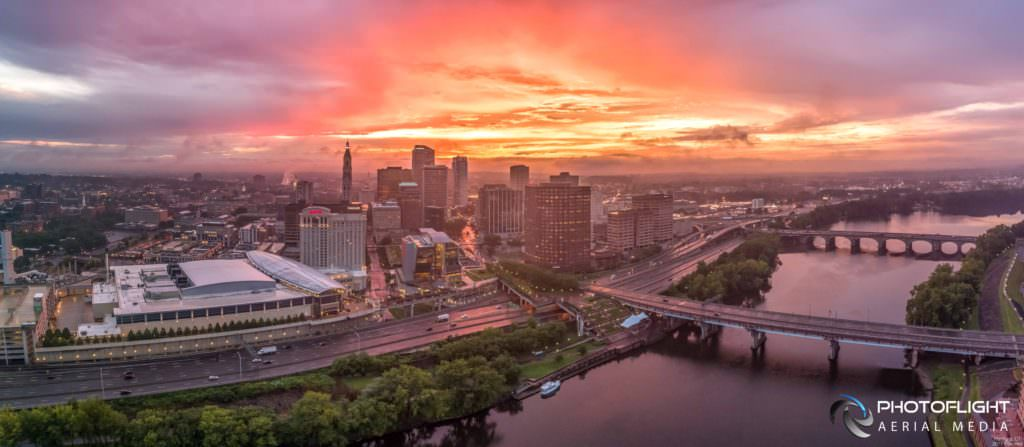 Hartford CT Capitol and Downtown Sunrise Drone Panorama by Photoflight Aerial Media - Media Asset Ref PAN2017-020