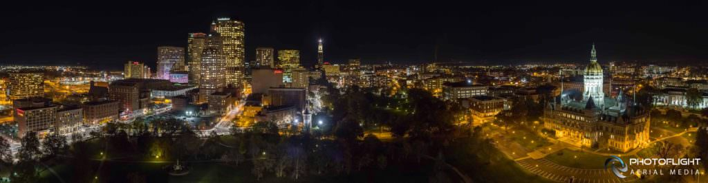Hartford CT Downtown and Capitol Night Aerial Panorama by Photoflight Aerial Media - CT drone operator
