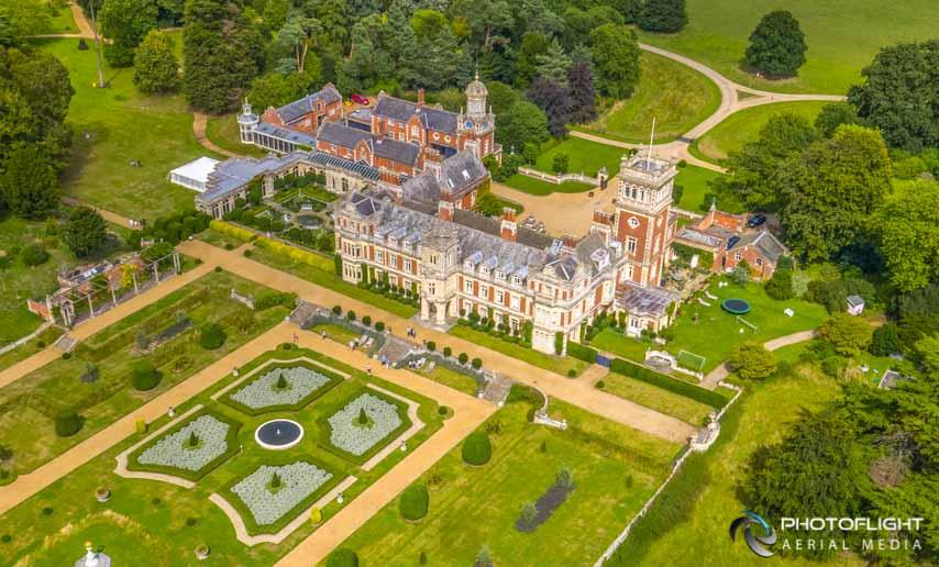Somerleyton Hall, Lowestoft UK. UK drone photography by PhotoFlight Aerial Media