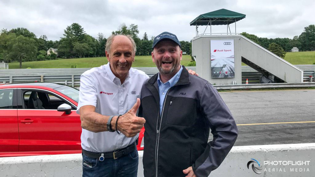 Racing Legend Hans Stuck with Petr Hejl, drone camera operator at Photoflight Aerial Media