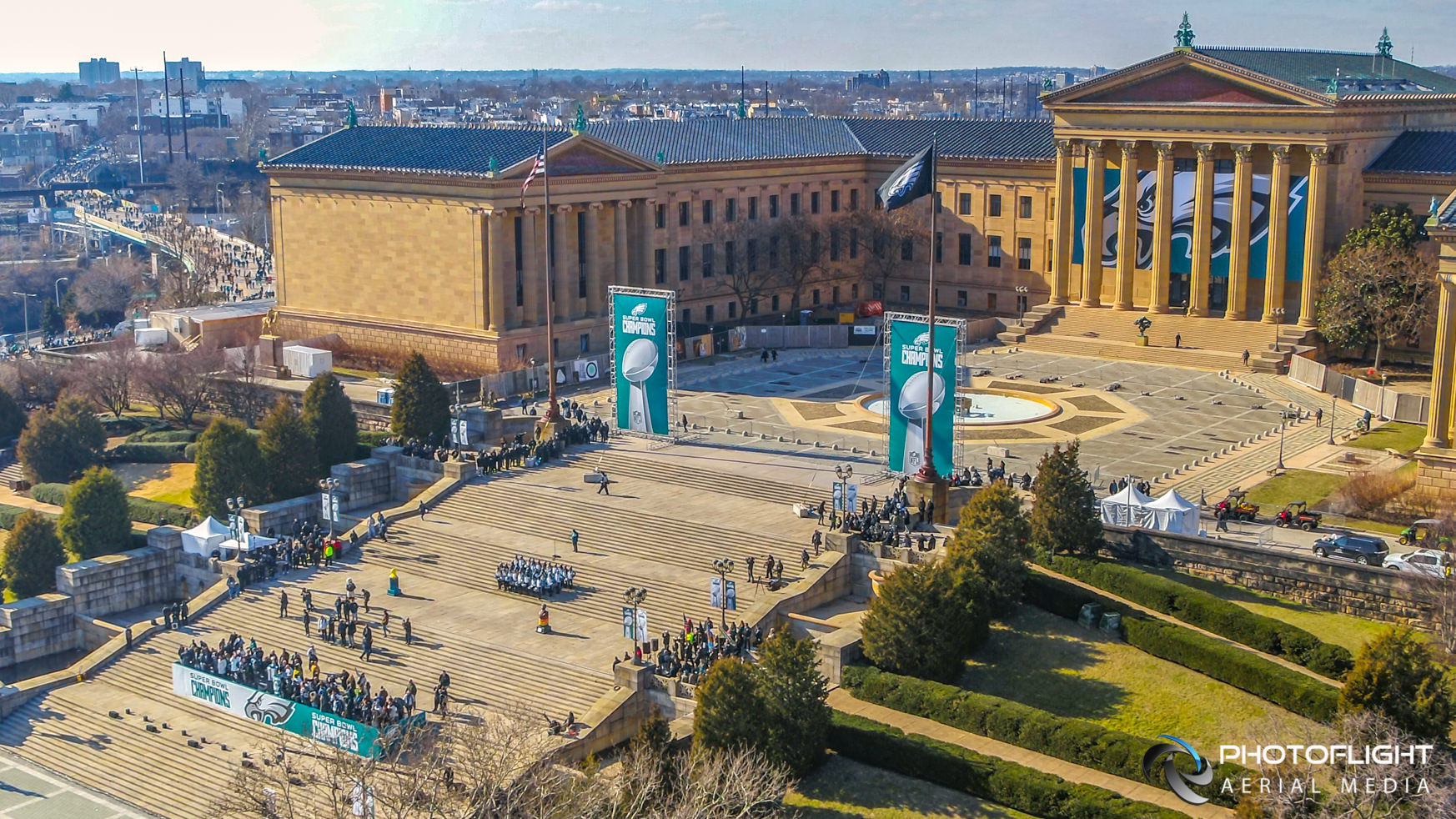 PhotoFlight Aerial Media Drone Coverage of the Spectacular Philadelphia Eagles 2018 Super Bowl Victory Parade
