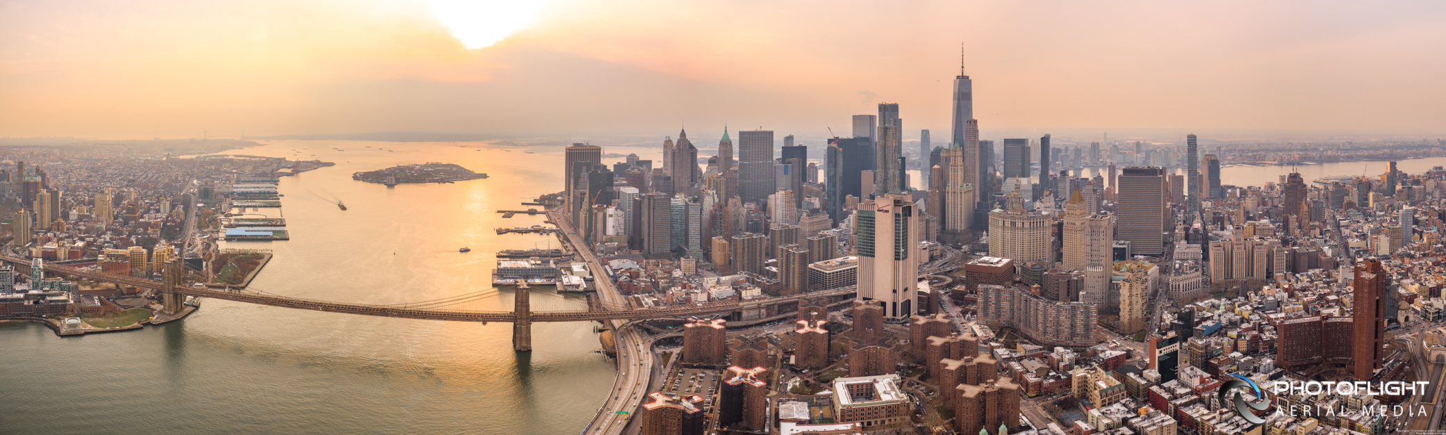 NYC Manhattan Downtown and Harbor Drone Panorama, NYC drone photography