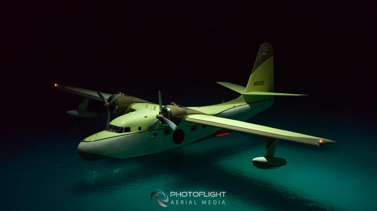 Flying Boat Grumann Albatross at night, drone photography by Photoflight Aerial Media