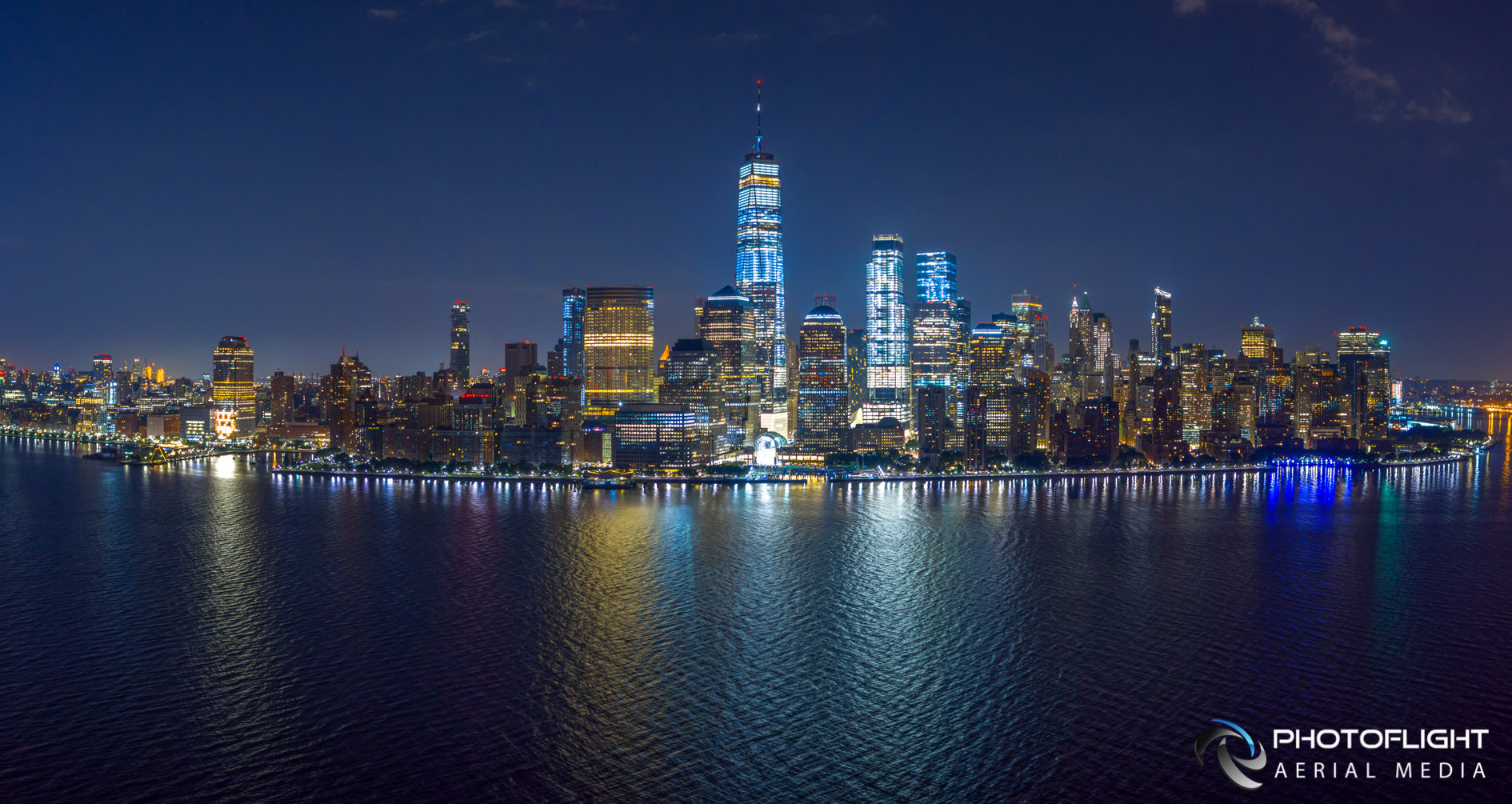Manhattan Night Skyline, Lower Manhattan, Financial district, NYC aerial drone photo by PhotoFlight Aerial Media Subject to copyright ©Photoflight Aerial Media
