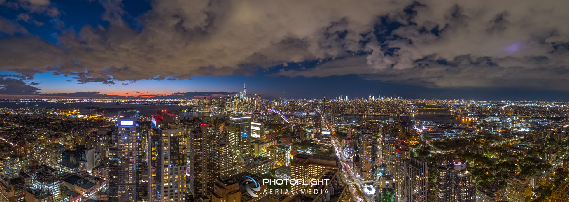 Manhattan Drone Photography - Twilight Panorama, NYC drone photography