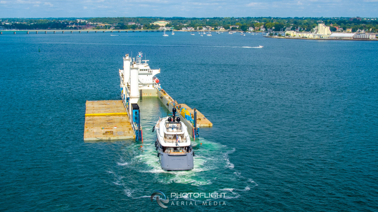 Rolldock Sky Delivering Utopia IV Superyacht In Newport RI, Drone Photography by Photoflight Aerial Media