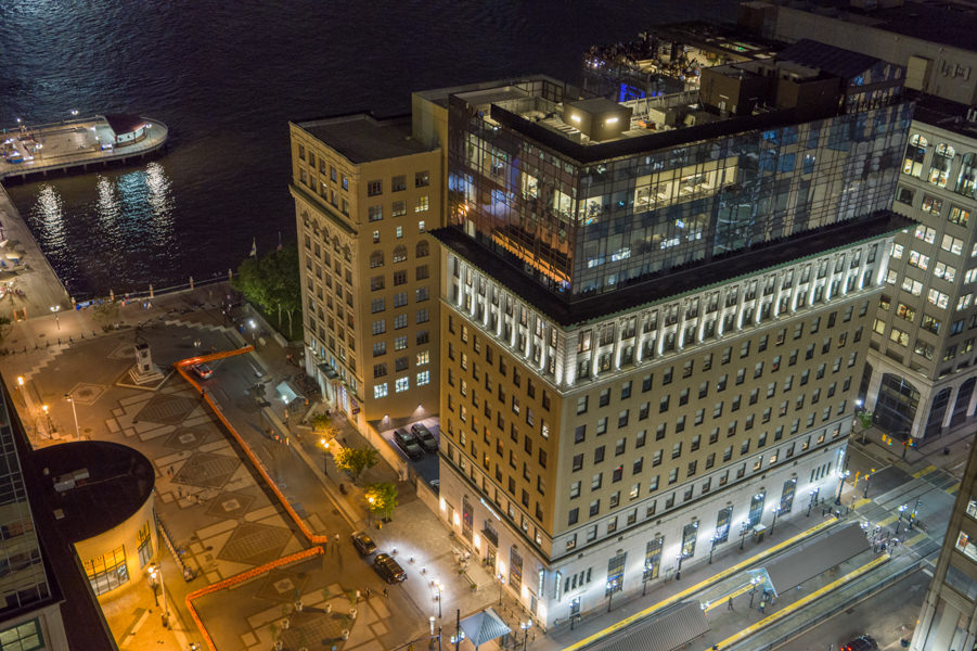 Hyatt House New Jersey, Rooftop at Exchange Place Jersey City NJ, New Jersey drone photography and video, Photoflight Aerial Media - NJ drone company