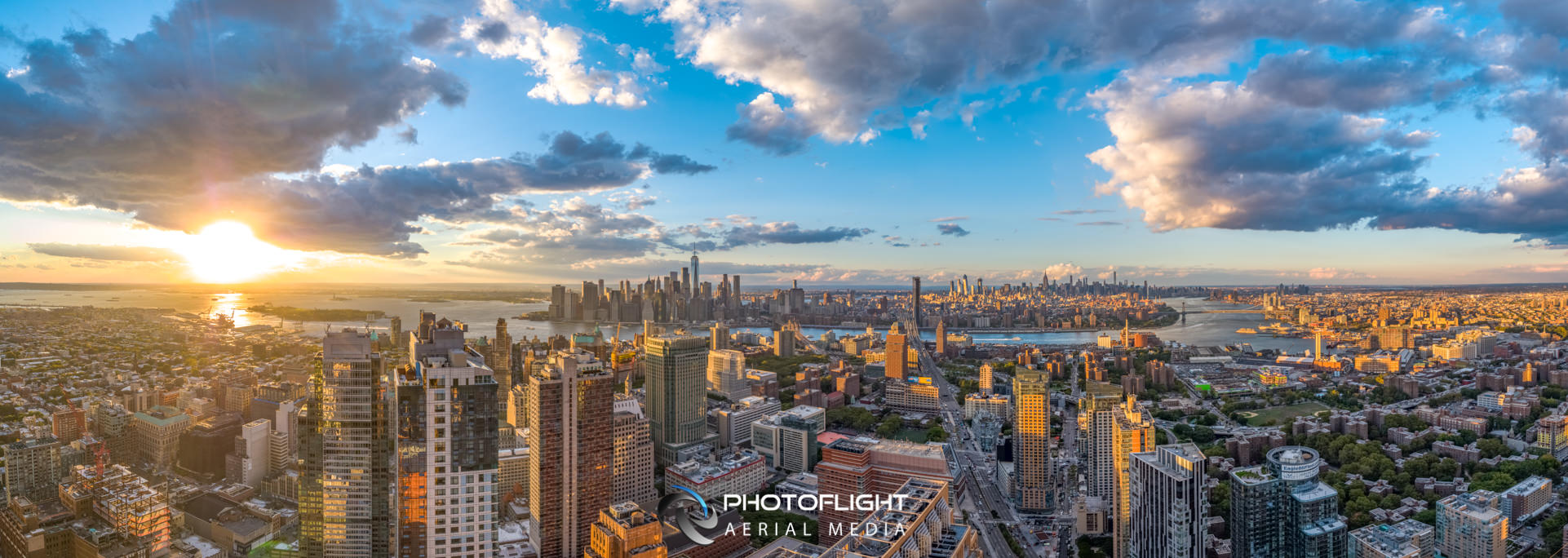 Manhattan Drone Photography - Sunset Panorama, NYC drone photography Subject to copyright ©Photoflight Aerial Media