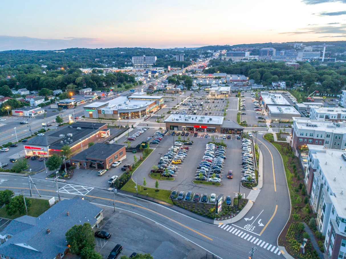 Commercial Real Estate Drone Photography in MA - Lakeway Commons by Grossman Development, photo by Photoflight Aerial Media.